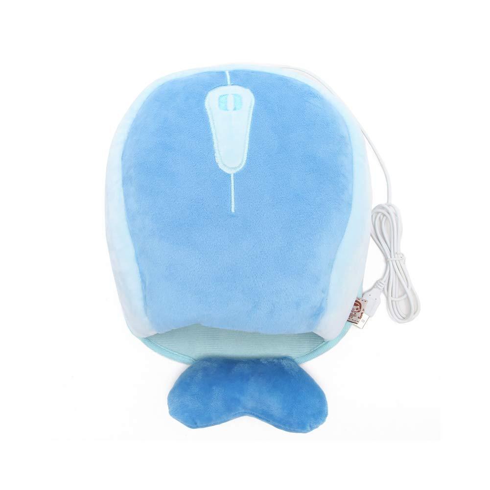 Alfombrilla de ratón con ballena, calefacción USB, diseño de ballena, con temperatura constante, calentador de manos con protector de muñeca, color azul 0b1d96