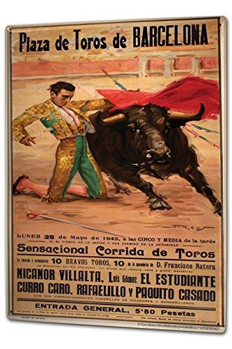 Tin Sign XXL Holiday Travel Agency Barcelona Bullfighting poster Torero by LEOTIE