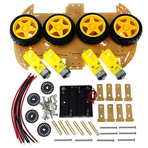 Bangcool Smart Robot Car Chassis Kit with Speed Encoder 4WD & Battery Box for Arduino