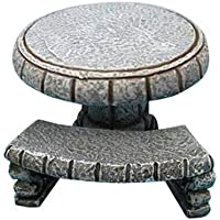 Hi-Line Gift Ltd Fairy Garden Stone Table with 3-Bench Figurines