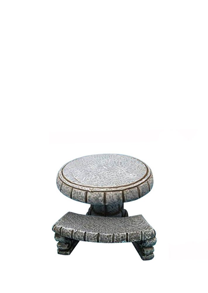 Hi-Line Gift Ltd Fairy Garden Stone Table with 3-Bench Figurines All Line 72043-03