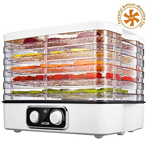 Aicok Electric Food Dehydrator Machine, Multi-Tier Food Preserver with Temperature Control from 95ºF to 158ºF for Beef Jerky, Dried Fruits, Vegetables & Nuts, 5 Stackable Drying Trays, BPA free & Dishwasher Safe ()