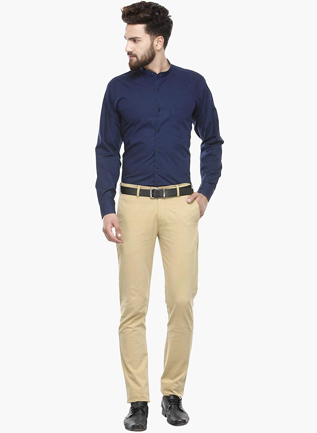 Leda Cotton Navy-Blue Party Wear Button-Down Collar Mens Formal Shirt