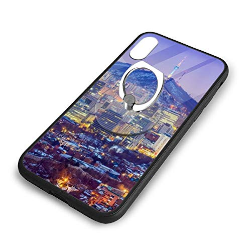 iPhone X Plus Cover City Night Scene Case with Finger Ring Stand XS Phone Kickstand Holder Shock Protective Basic Protector]()