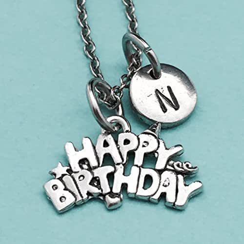 Personalized 18th Birthday Necklace Initial Custom: Amazon.com: Happy Birthday Necklace, Happy Birthday Charm