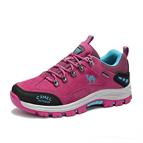 Camel Womens Professional Blance Breathable Non-Slip Low Top Walking Hiking Shoes Rose Red FNSMMjQ