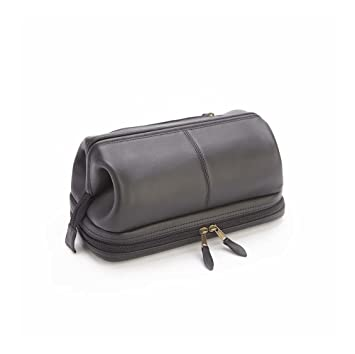bb3062d49d81 Amazon.com   Royce Leather Toiletry Travel Wash Bag with Zippered Bottom  Compartment