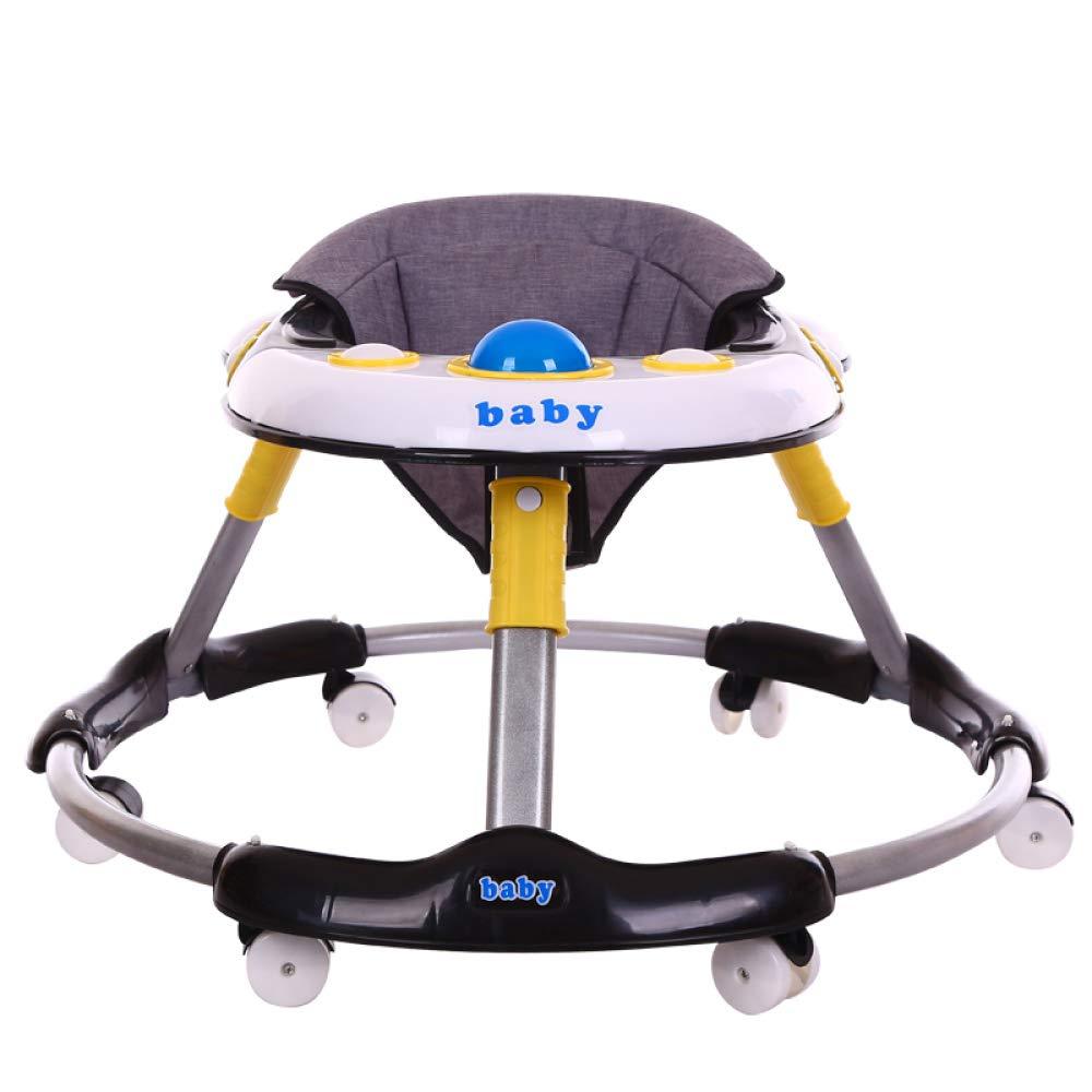 GAOY Baby-Gleichgewicht Lauflernhilfen Baby EarlyEducational Musik Einstellbar Baby Gehfrei Kinder Kleinkind Sit-to-Stand Gehhilfe,Black