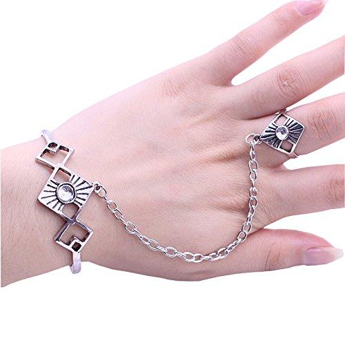 idealway Punk 925Chapado en plata cristal geométrico esclavo anillo abierto pulsera brazalete joyería Set