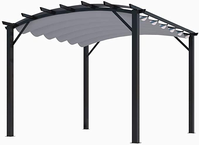 Habrita Pergola - Estructura mixta 11, 22 m2 - Tela color gris: Amazon.es: Jardín