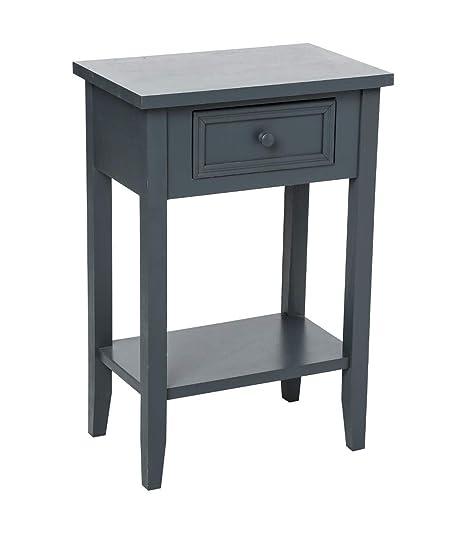 meubles en pin pas cher Mesilla de Noche 1 cajón, Color Gris