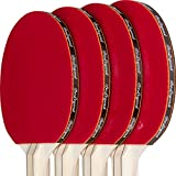 BeLegend Ping Pong paddle set (4 rackets, 3 ping pong balls and case) - Pro level ping pong table tennis set