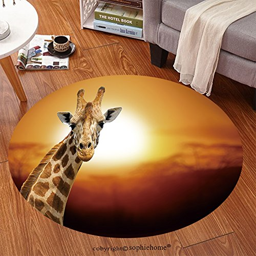- Sophiehome Soft Carpet 245110243 Giraffe on sunset, Amboseli national park Kenya Anti-skid Carpet Round 47 inches