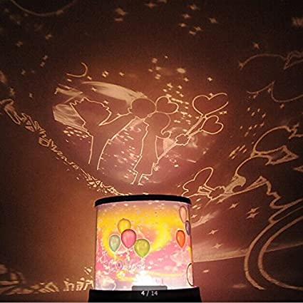Book themed bedding: lamp projector romantic lover stars night light