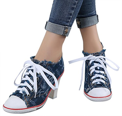 CAMSSOO Women's Fashion Pointy Toe Lace Up Clunky Heels Stiletto Pumps High Heels Ankle Shoes Canvas Or Soft PU 1# dark blue canvas bPaUXHi
