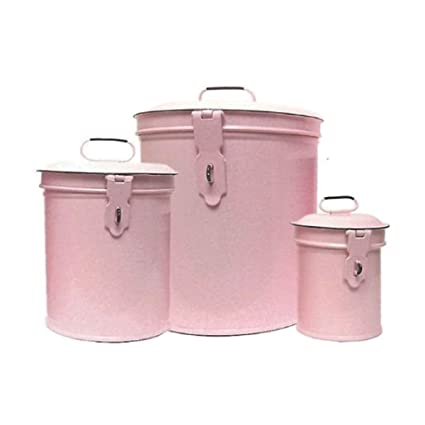 Attractive Vintage Style Canister Set ~ Kitchen Storage Canisters E1 Decorative  Containers ~ Shabby Chic Pink Enamel