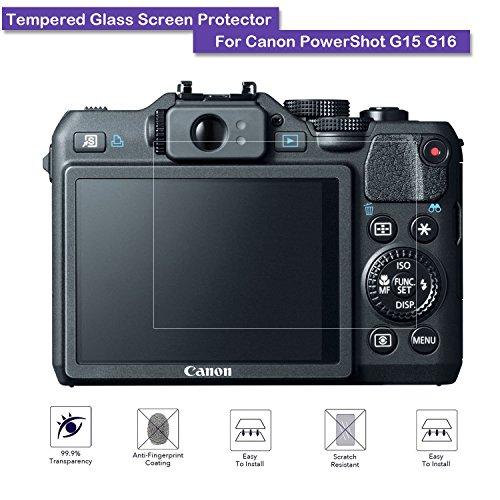 Canon PowerShot G15 G16 Tempered Glass Screen Protector – MOTONG LCD Screen protector for Canon PowerShot G15 G16,9 H Hardness,0.3mm Thickness,Made From Real Glass