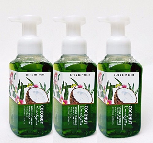 Silk Coconut Body Wash - Lot of 3 Bath & Body Works Coconut Eucalyptus Gentle Foaming Hand Soap with White Tea & Ginseng Extracts 8.75 fl oz each
