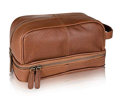 - Classic Top Grain Leather Toiletry Bag and Dopp Kit - Men's Travel and Shave Kit with LokSak Waterproof Bag (Brown)