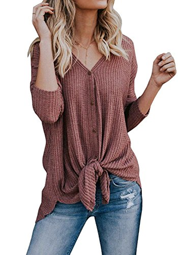 Dellytop Womens Waffle Button Down Loose Henley Shirts Tie Knot V Neck Casual Cute Tops from Dellytop