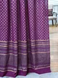 Saffron Marigold – Dreams of India: Mystic Amethyst – Purple and Gold Sari Inspired Hand Printed – Elegant Romantic Sheer Cotton Voile Curtain Panel – Tab Top or Rod Pocket – (46 x 63)