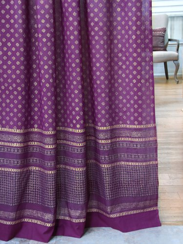 Saffron Marigold – Dreams of India: Mystic Amethyst – Purple and Gold Sari Inspired Hand Printed – Elegant Romantic Sheer Cotton Voile Curtain Panel – Tab Top or Rod Pocket – (46 x 84) For Sale