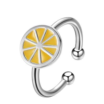 QIANDI Anillo de plata de ley 925 redondo amarillo naranja limón abierto para mujeres niñas boda