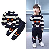 Software : Vovotrade Autumn Winter Outfits Kids Baby Girl Boy Clothes Set Striped Bear Tops+Pants (3T, Navy)