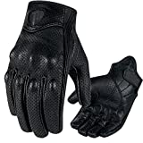 Men's Short Wrist Leather Perforated Motorcycle Cruiser Glove with Knuckle Protection