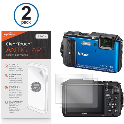 BoxWave Nikon Coolpix AW130 ClearTouch Anti-Glare Screen Protector (2-Pack) - Nikon Coolpix AW130 Anti-Glare, Anti-Fingerprint Matte Film Skin to Shield Against Scratches