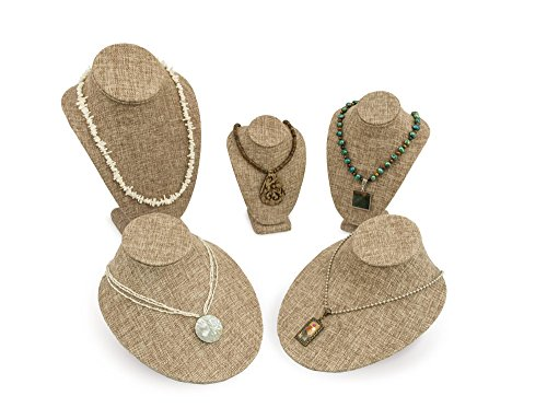 5 Piece Burlap Necklace Bust Kit Jewelry Display Bust Assortment