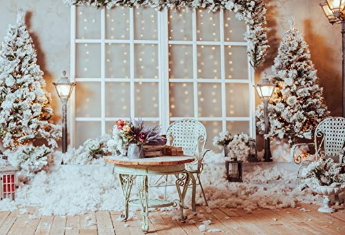 Price comparison product image Yeele 10x8ft Christmas Photography Background Christmas Tree Brown Wooden Floor Retro Iron Table Street Light Flower Basket Glass Door Merry Xmas Photo Backdrops Photoshoot Pictures