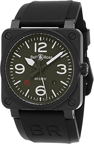 Bell & Ross Aviation Men's Black Ceramic Khaki Dial Swiss Automatic Watch BR 03-92 Military Type Ceramic