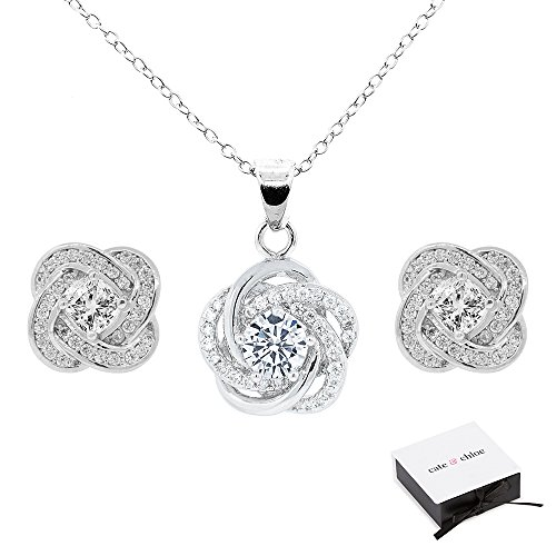 Cate & Chloe Stella Jewelry Set, 18k White Gold Cubic Zirconia Pendant Necklace and Stud Earrings, Bridal Jewelry Set, Cluster Necklace Earring Set for Women, Halo Jewelry Set - MSRP $199 (Diamond Earrings Moonstone)