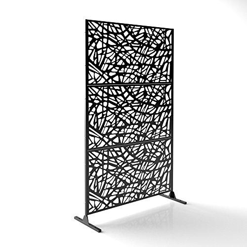 Veradek Web Decorative Screen Set w/Stand - Black (Privacy Screen Modern Outdoor)
