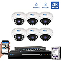 8 Channel 4K NVR 8 Megapixel H.265 4K Security Camera System, 6 Built-in Microphone Audio Recording HD 2160P 4K IP PoE Dome Cameras, QR-Code Connection