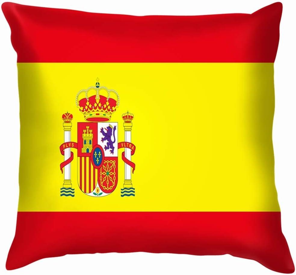 LarissaHi Bandera España Emblema Funda de Almohada de algodón Funda de cojín Oficina en el hogar Decorativa, Cuadrada 18X18 Pulgadas / 45X45 cm: Amazon.es: Hogar