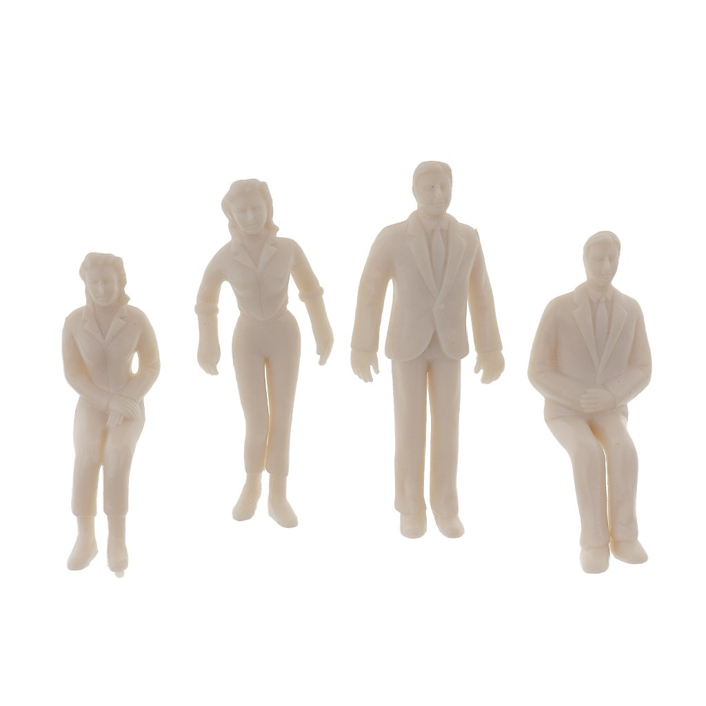 100pcs Unpainted Model Passenger People Figures for Train Landscape DIY 1:25