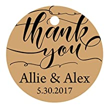100 PCS Customized Thank You Circle Hang Tags Personalized Wedding Favor Gift Tags