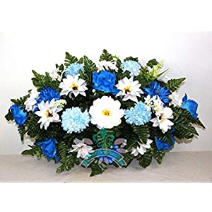 Beautiful XL Artificial Blue Mixture Cemetery Flower Headstone Saddle Grave Decoration 27