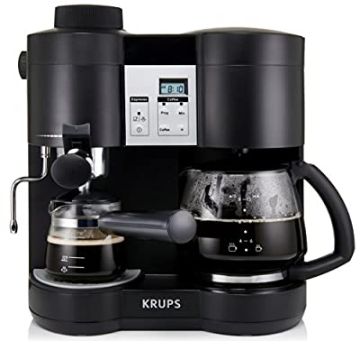 KRUPS XP1600 Coffee Maker and Espresso Machine Combination, Black