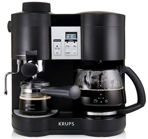 Krups XP160050 Coffee Maker and Stainless Espresso Machine Combination, Black