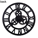 SuBoZhuLiuJ 3D Round Wall Clock with Gear Analog Roman Numeral for Home Living Room Office Cafe Decor