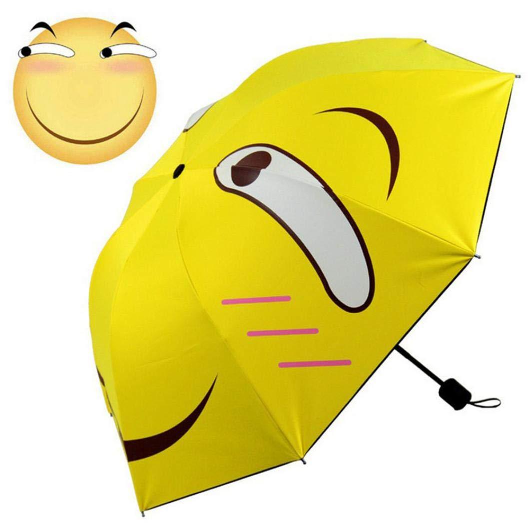 Owill Owill Folding Rain Windproof Umbrella Folding Anti-UV Sun/Rain Umbrella (Overall Length: 94 cm, Yellow)
