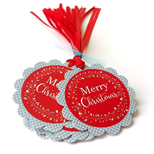 Red and Blue Merry Christmas Holiday Gift Tags - Wreath Holiday Christmas Favor Tags - Set of 12 (For Gifts Christmas Neighbours)