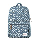 Leewin Unisex Fashion Casual Canvas Printed Backpack School Book Bag (Blue)