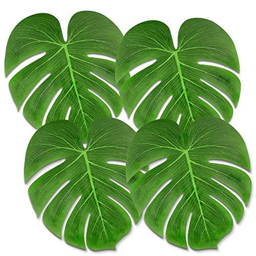 Tropical Palm Leaves 50PCS Large 13 Simulation Leaf Faux Artificial Palm Leaves for Tropical Party Decorations Hawaiian Luau Safari Jungle Beach Theme BBQ Party Supplies Table Decorations