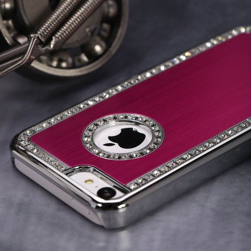G4GADGET® Iphone 4/4S Deluxe Red brushed aluminum diamond case bling cover for iphone 4/4S