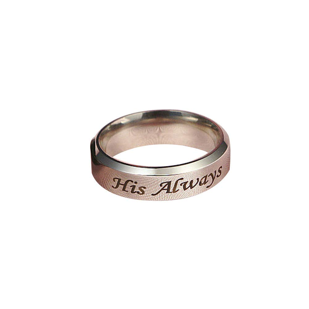 Wintefei His Always/Her Forever Couple Ring Titanium Steel Wedding Engagement Jewelry - US 7 Women's