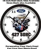 FORD 427 SOHC ENGINE PHOTO WALL CLOCK-FREE USA SHIP!